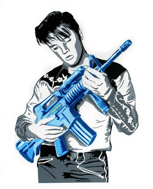 Don't Be Cruel Blue by Mr. Brainwash