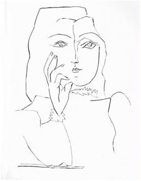 Femme en Buste, Une Main au Visage