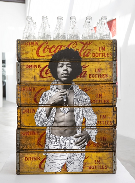 Jimi on Coke Crates