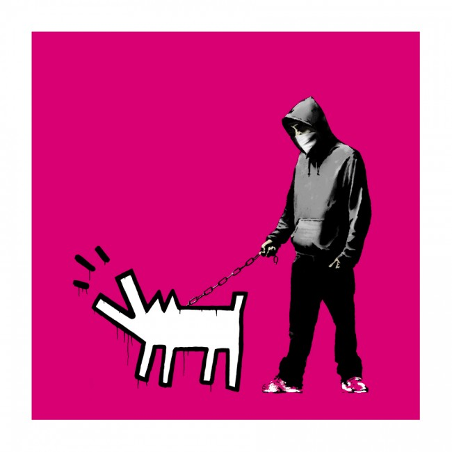 Magenta Choose Your Weapon by Banksy