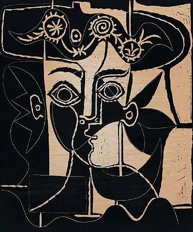 Rande Tete de Jacqueline Linocut by Picasso