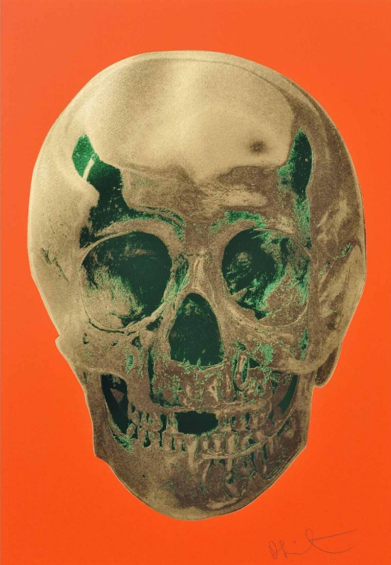 Bright Orange Emerald Skull by Damien Hirst