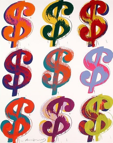 White Nine Dollar Signs by Andy Warhol