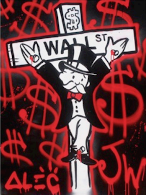 Money Sign Crucified Monopoly by Alec Monopoly