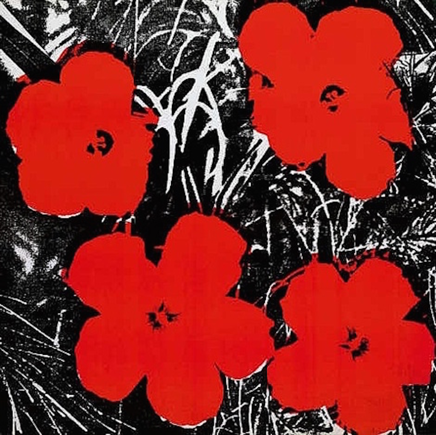 8 Inch  Flower Painting Red Andy Warhol