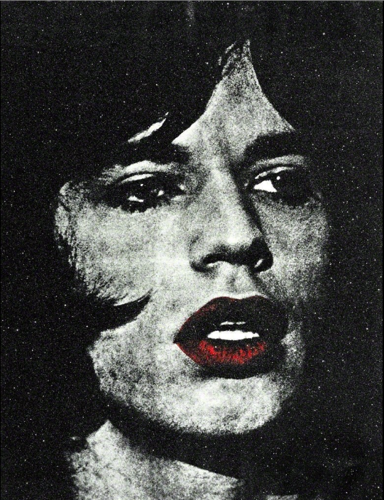 Mick Jagger with Red Lips by Russell young