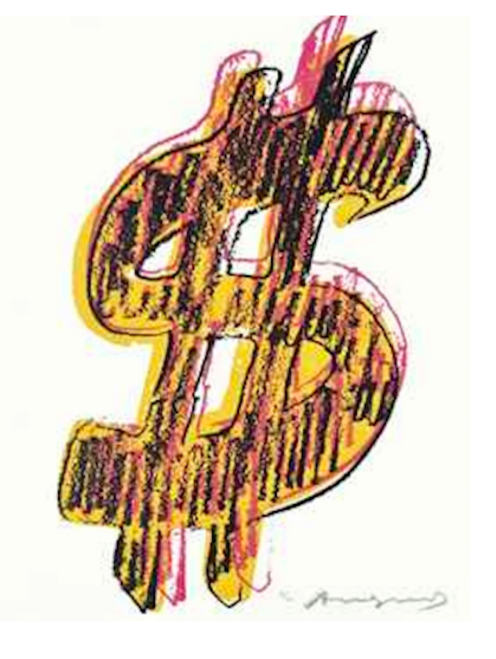 Dollar Sign Yellow by Andy Warhol