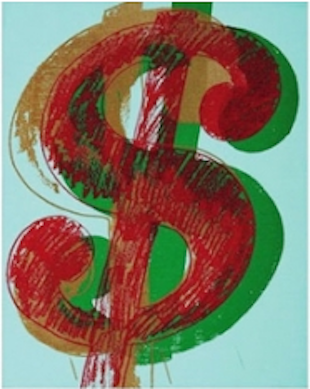 Single Dollar Sign by Andy Warhol (Red)