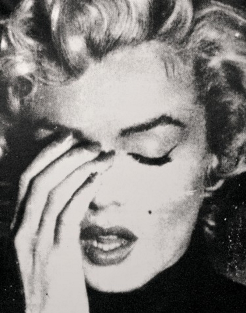 Marilyn Crying (B&W) by Russell Young