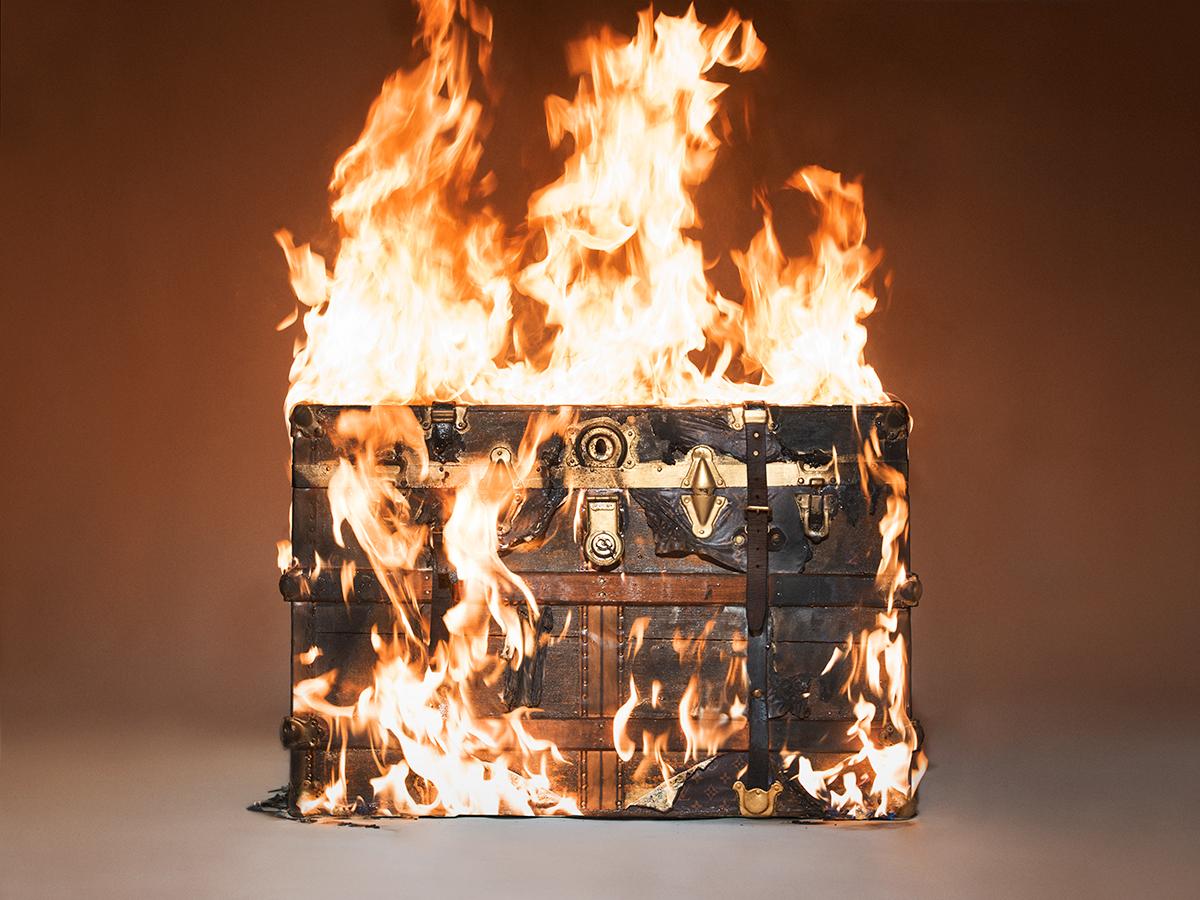 Louis Vuitton Trunk on Fire by Tyler Shields