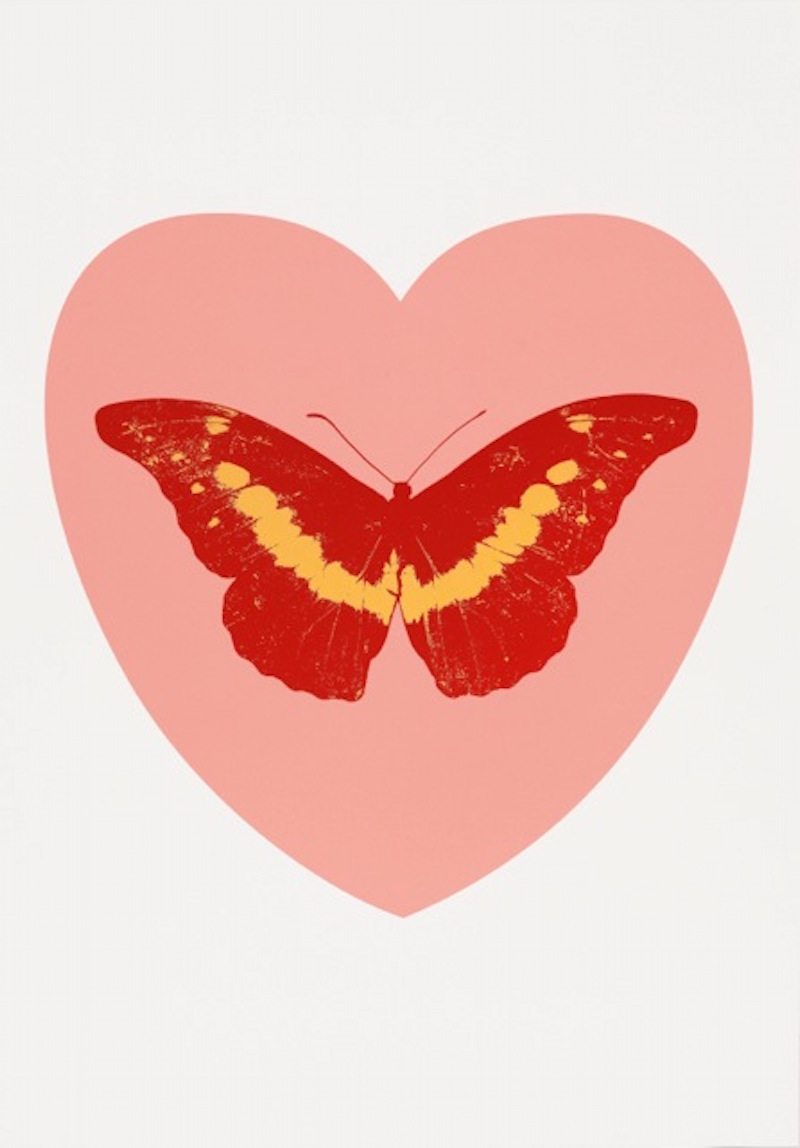 I Love You ( pink, poppy red, cool gold ) by Damien Hirst
