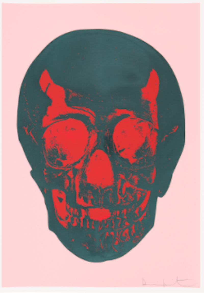 Damien-Hirst-—-Till-Death-Do-Us-Part-Candy-Floss-Pink-Racing-Green-Pigment-Red-Pop-Skull