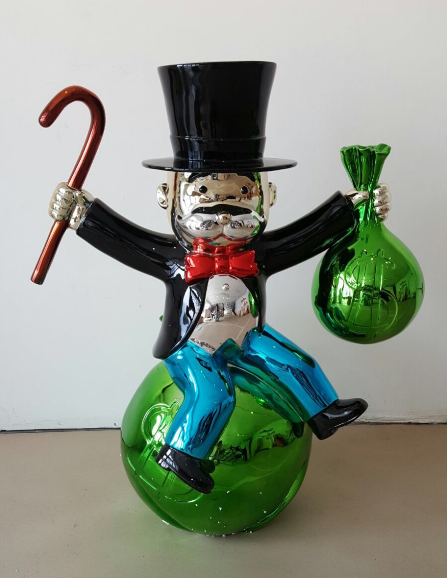 Sitting on Money Bags by Alec Monopoly