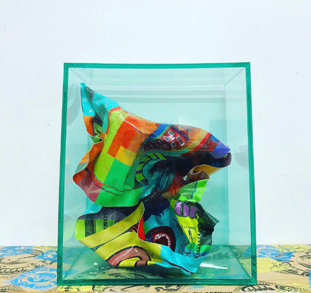 Crumple in sealed acrylic by Mister E