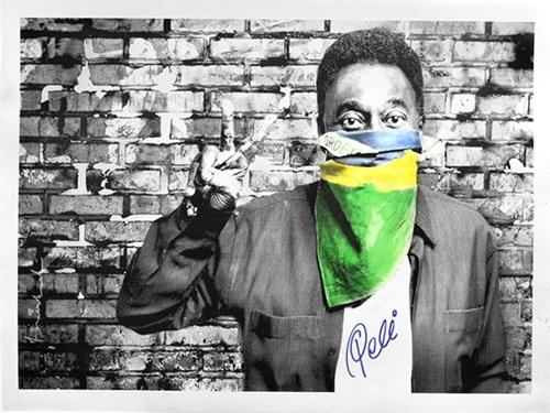 The King Pele: Flag Portrait by Mr. Brainwash