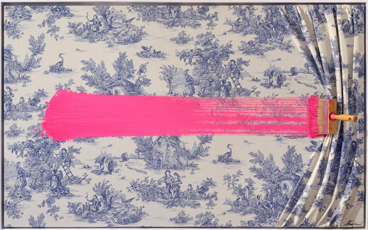 Brosse arretee rose sur toile de Jouy by Jean-Paul Donadini