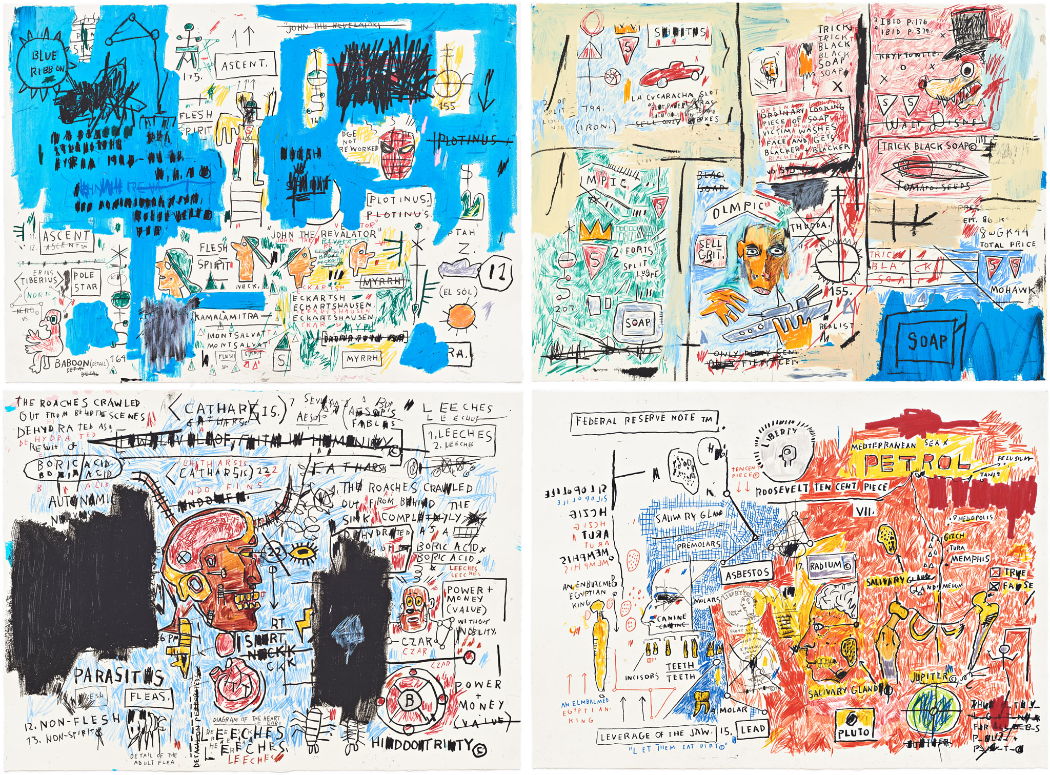 Ascent, Olympic, Leeches, Liberty by Jean-Michel Basquiat