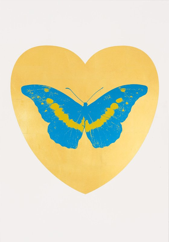 I Love You – gold leaf, turquoise, oriental by damien hirst