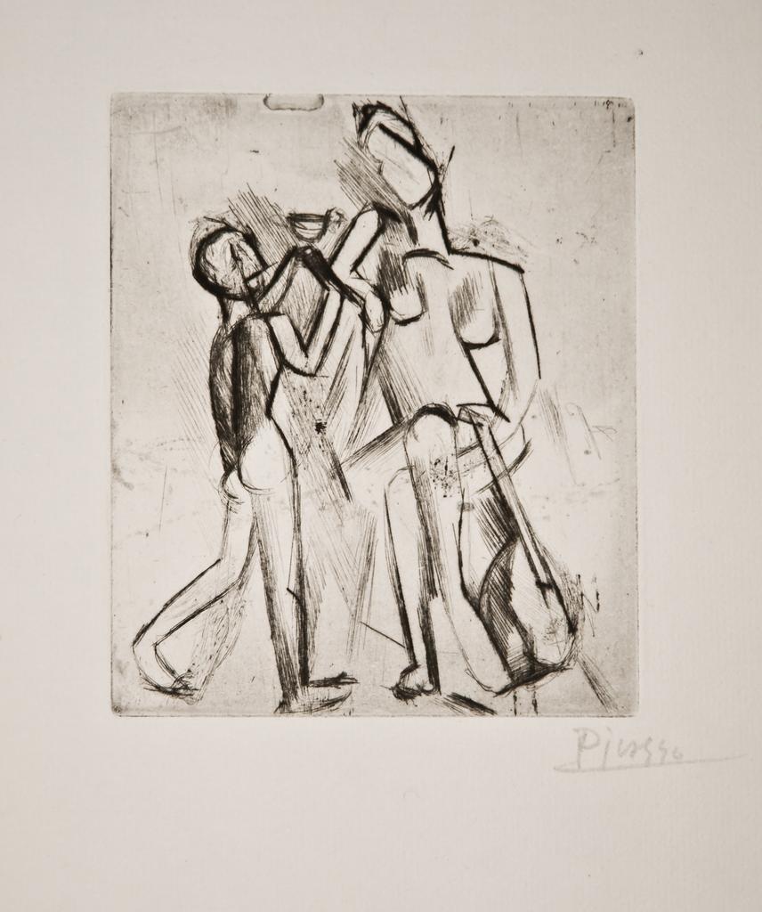 Deux figures nues: Femme à la guitare et garçon à la coupe By Pablo Picasso