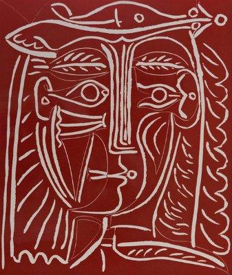 Tete De Femme Au Chapeau sur rouge by Pablo Picasso
