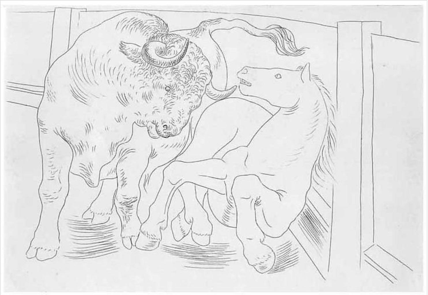 Taureau et Cheval dans l'Arène by Pablo Picasso