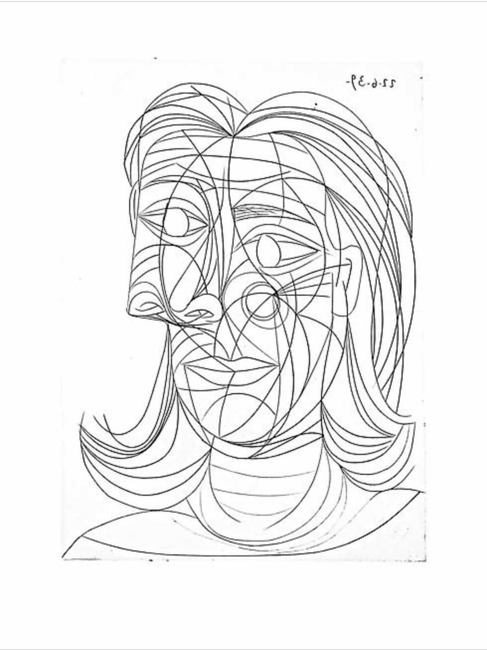 Tête de Femme (black and white) by Picasso