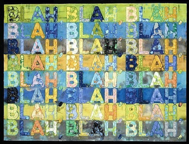 Blah Blah Blah (green and blue) by Mel Bochner