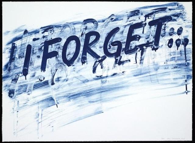 I Forget (blue) by Mel Bochner