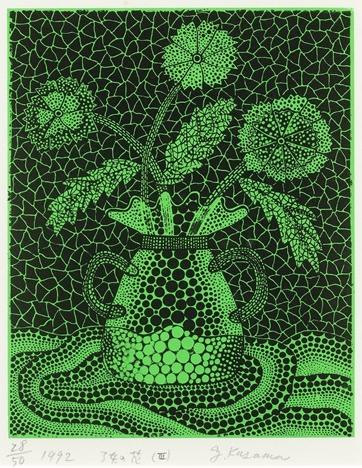 Three Flowers Green by Yayoi Kusama
