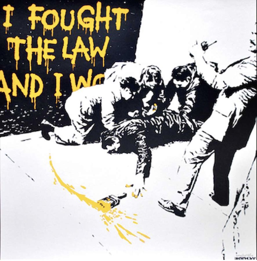 I Fought The Law Yellow by Banksy