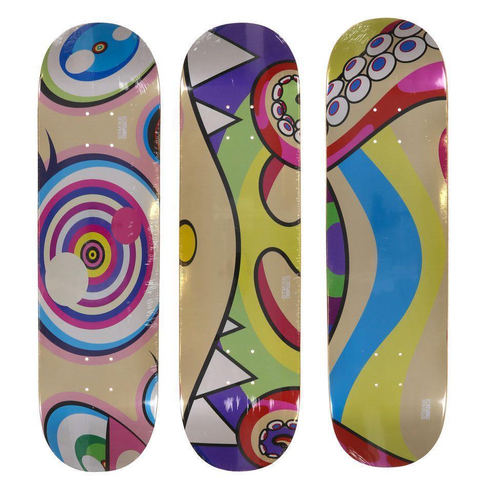 Set Of 3 Supreme Skateboard Decks (Flowers) By Takashi Murakami