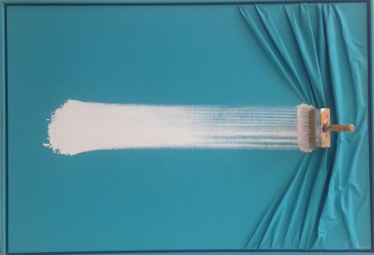 White Brush on Turquoise by Jean Paul Donadini