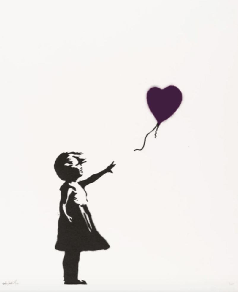 Banksy Girl With Balloon Purple