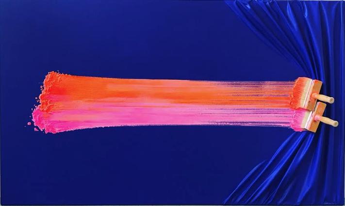 Double brosse arretée sur bleu