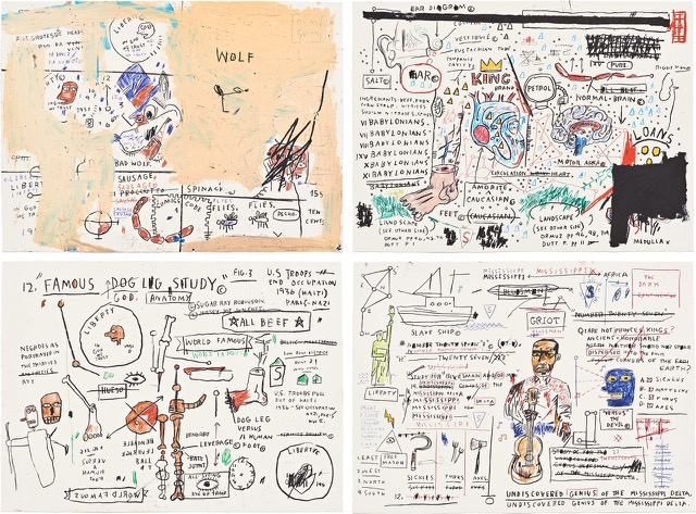Wolf Sausage, King Brand, Dog Leg Study and Undiscovered Genius by Jean-Michel Basquiat