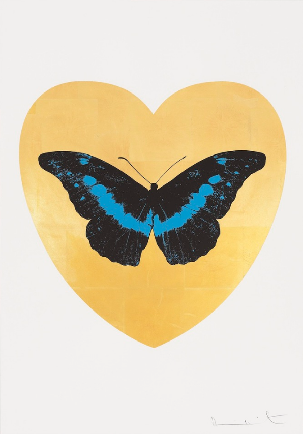 I Love You (Gold Leaf, Black, Turquoise) by Damien Hirst