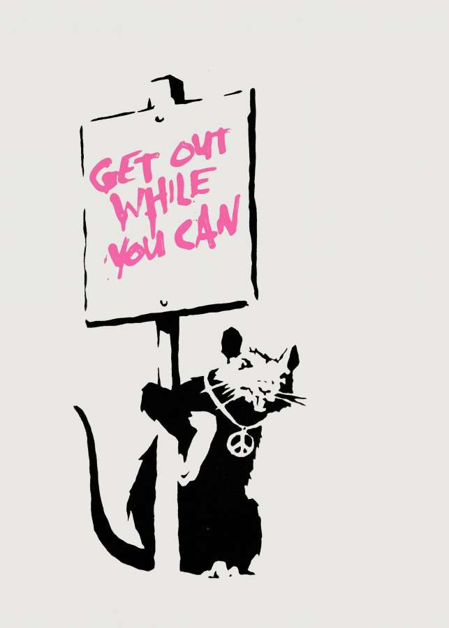 Get Out While You Can (Pink) by Banksy