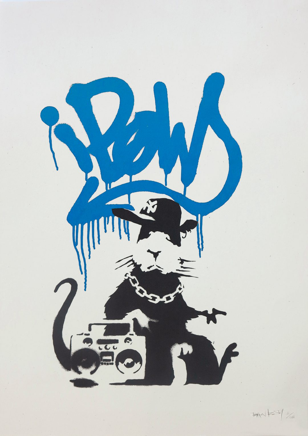 Gangsta Rat (Blue) by Banksy