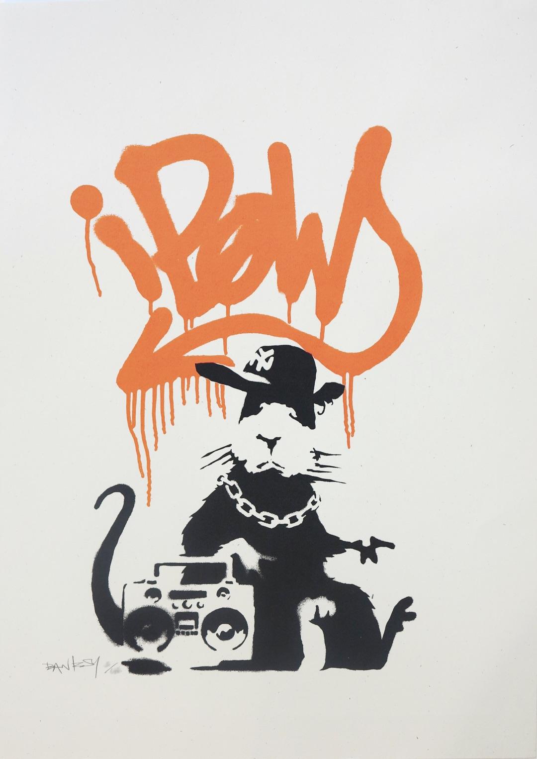 Gangsta Rat (Orange) by Banksy