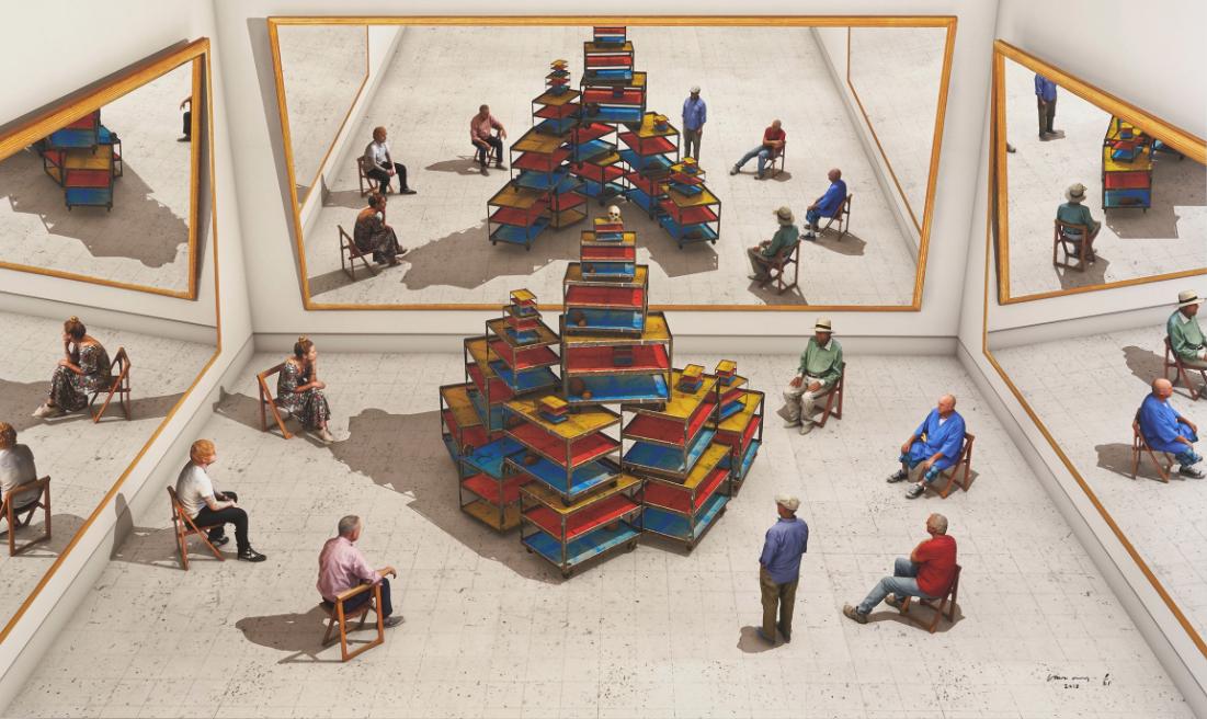 Viewers Looking At ReadyMade by David Hockney