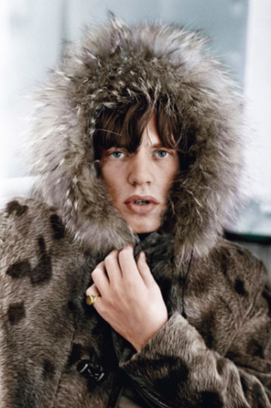 Mick in a Fur Parka, Colorized by Terry O'Neill