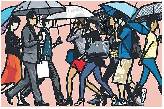 Julian Opie Walking In The Rain , Seoul from Walking In The Rain