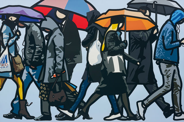 Walking in the Rain London by Julian Opie