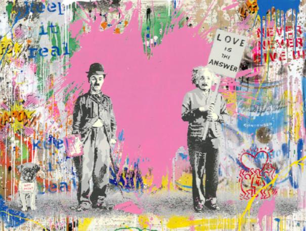 Juxtapose (Pink) by Mr. Brainwash