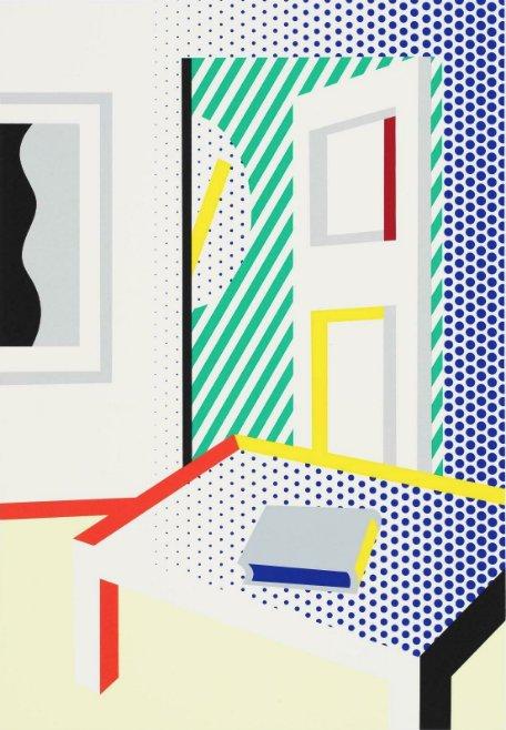 Virtual Interior With Book by Roy Lichtenstein