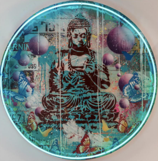 Peaceful Buddha Neon by RISK