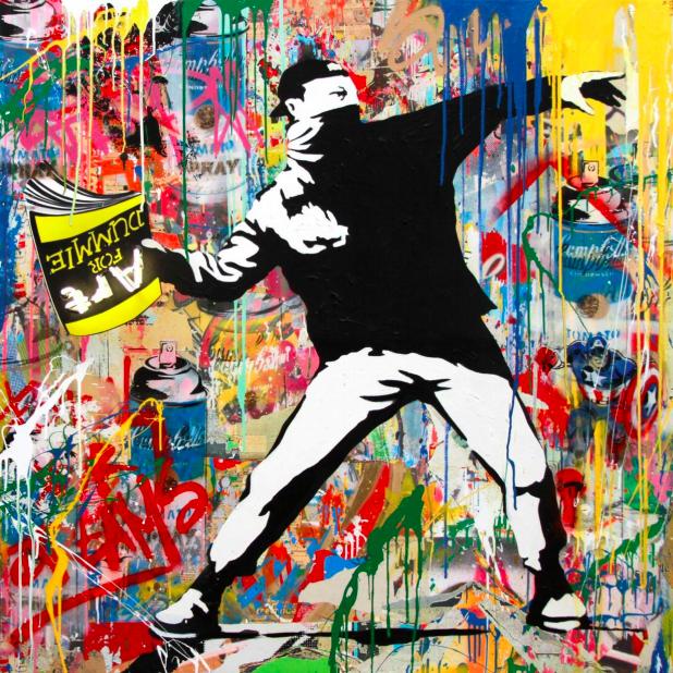 Banksy Thrower (Neon) by Mr. Brainwash