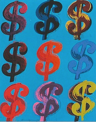 Dollar Sign (9) (Blue) by Andy Warhol
