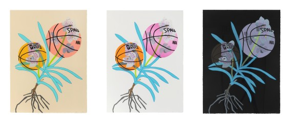 Double Basketball Orchid 2 (Set of 3) by Jonas Wood