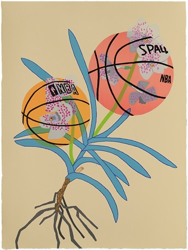 Double Basketball Orchid 2 (State I) by Jonas Wood